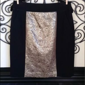magaschoni skirt 8 black gold brocade stretch